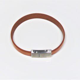 bracelet homme en cuir brun nature, fermoir en acier