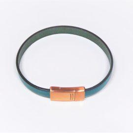Bracelet homme en cuir vert et fermoir en cuivre