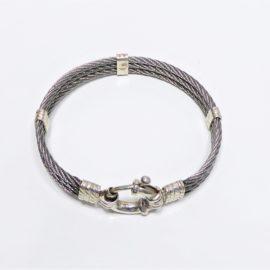 Bracelet homme en fil cable et argent 925