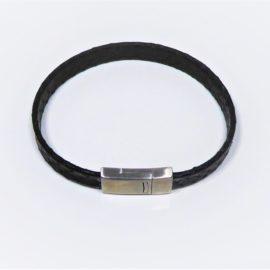 Bracelet homme en cuir noir effet croco, fermoir en acier